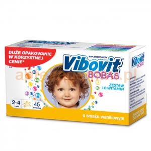 TEVA Vibovit Bobas, dla dzieci w wieku od 2 do 4 lat, smak waniliowy, 45 saszetek