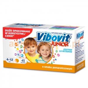 TEVA Vibovit Junior, dla dzieci w wieku od 4 do 12 lat, smak pomarańczowy, 45 saszetek