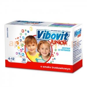 TEVA Vibovit Junior, dla dzieci w wieku od 4 do 12 lat, smak truskawkowy, 30 saszetek
