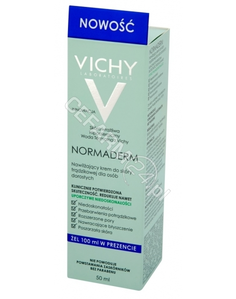 VICHY Vichy normaderm nawilżający krem do skóry trądzikowej dla dorosłych 50 ml + żel oczyszczający 100 ml GRATIS!!!