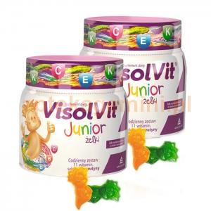 ANGELINI Visolvit Junior, żelki dla dzieci od 3 lat, smak owocowy, 50 sztuk+50 sztuk OKAZJA