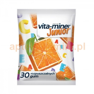 Aflofarm Vita-miner Junior, gumy rozpuszczalne dla dzieci powyżej 3 roku życia, 30 sztuk