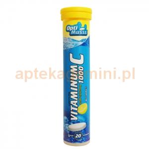 AMS PHARMA Vitaminum C 1000 Optimusss, bez cukru, smak cytrynowy, 20 tabletek musujących