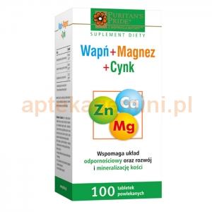 HOLBEX Wapń + Magnez + Cynk, 100 tabletek (dawniej Calmazin)