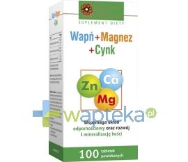 HOLBEX Wapń+Magnez+Cynk 100 tabletek HOLBEX